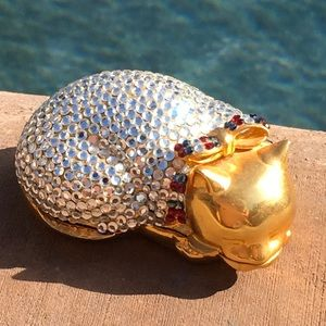 Judith Leiber Sleeping Cat Crystal Pill Box